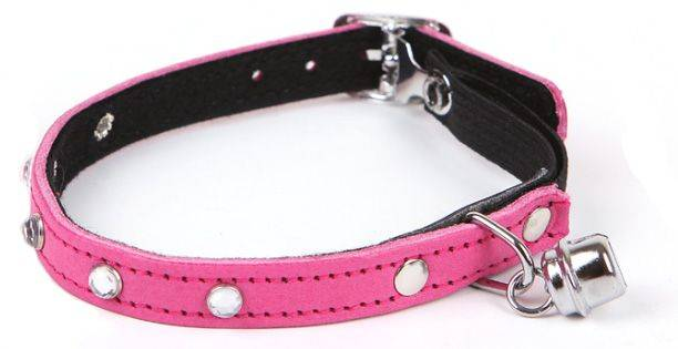 Produktbild: Katthalsband med dekorsten rosa