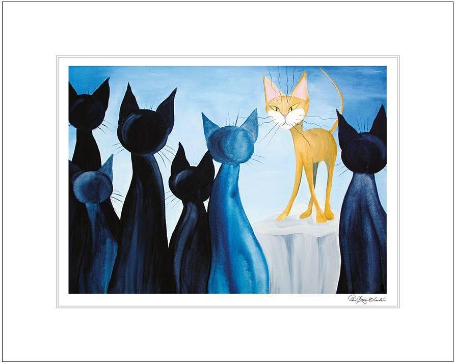 Produktbild: Konsttryck Blå katter (till tavla)