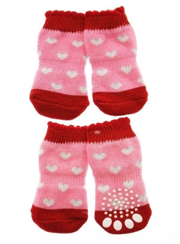 Produktbild: Pink / Red ''Glitter Hearts'' Pet Socks