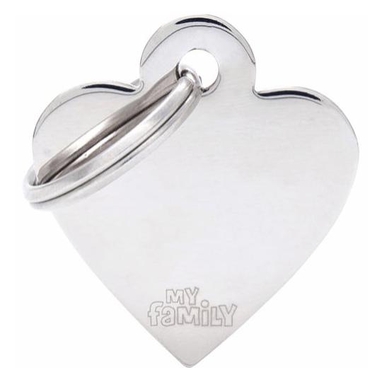 Id-Bricka Hjärta Blank Silver Med Gravyr