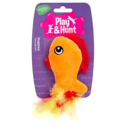 Kattleksak Orange Fisk Med Fjädrar