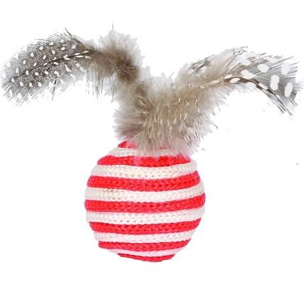 Kattleksak Trådboll Med Fjäder