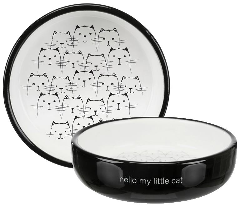 Kattmatskål Hello My Little Cat Svart/Vit
