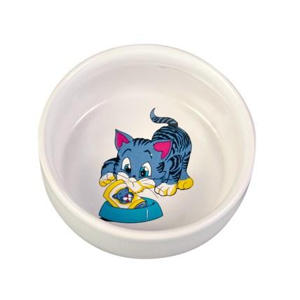 Keramikskål Katten Med Blått 4009