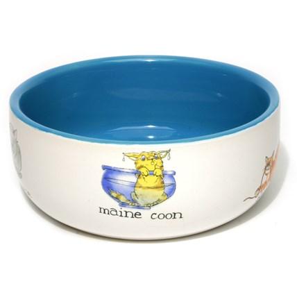 Keramikskål Tecknad Kattmotiv