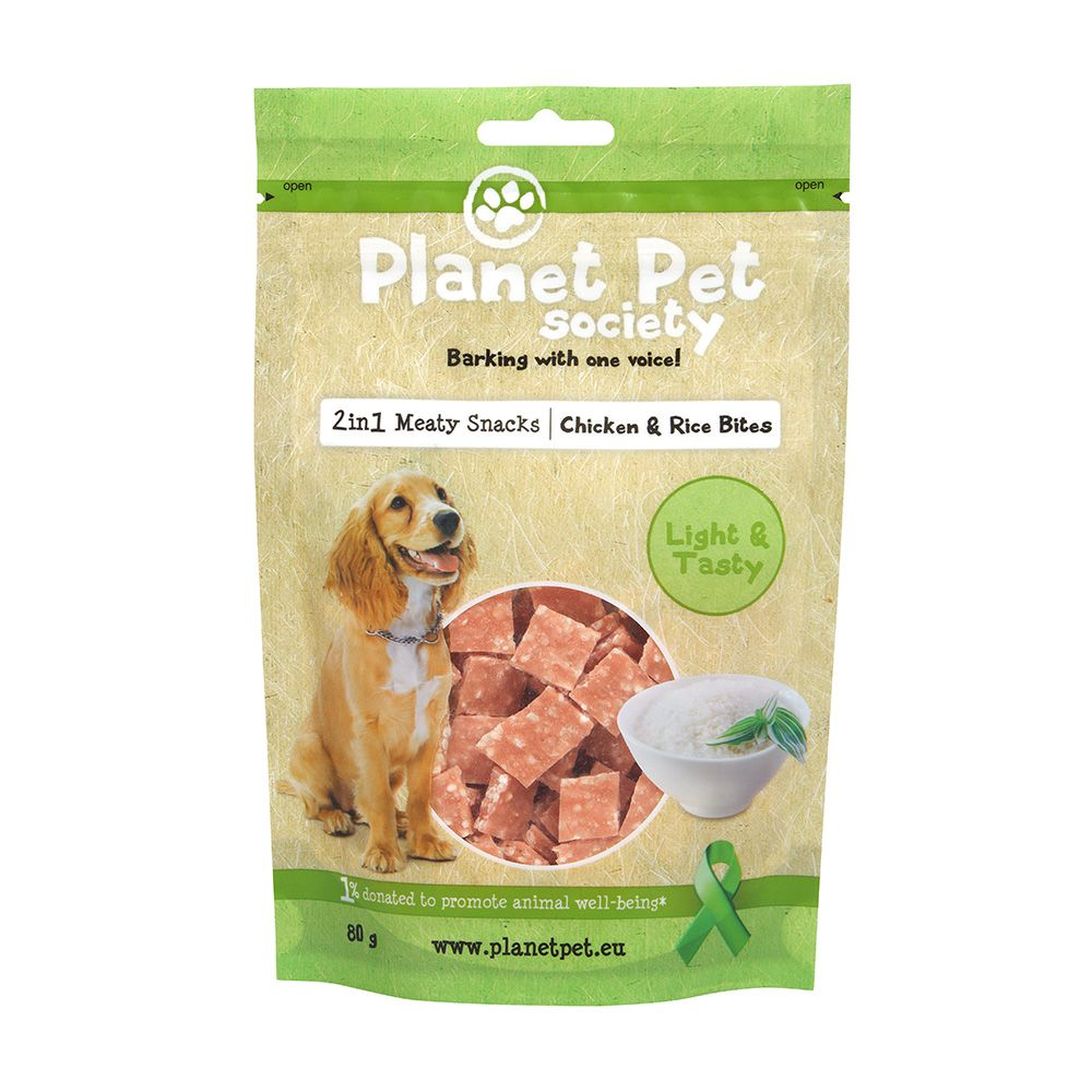 Planet Pet Society 2In1 Treats Kyckling & Risbitar 80 Gram